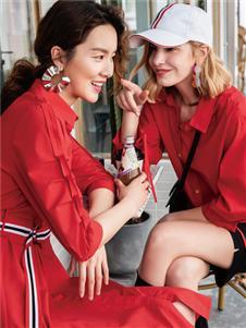 布根香女装春新款红色衬衫