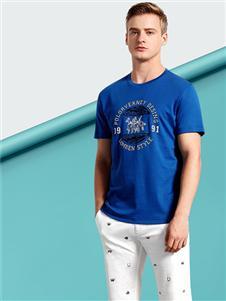 劳夫罗伦男装蓝色T恤