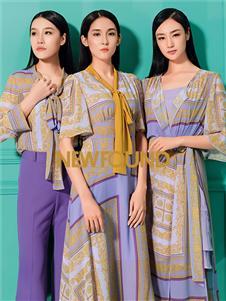 纽方2020春款紫色连衣裙