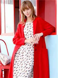 ZOLLE因为女装春款红色开衫