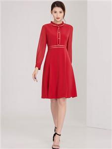 迪丝爱尔女装红色衬衫裙