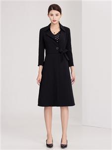 迪丝爱尔女装黑色优雅风衣