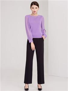 迪丝爱尔女装紫色打底衫