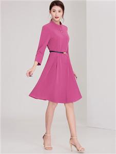 迪丝爱尔女装迪丝爱尔女装红色收腰连衣裙