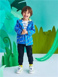 青蛙王子男童蓝色印花夹克