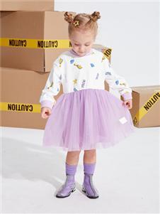 青蛙王子女童拼接连衣裙