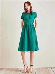衣魅人2020绿色连衣裙