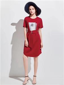 衣魅人2020夏红色收腰连衣裙