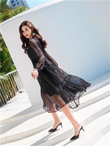 衣艾女装黑色气质纱裙