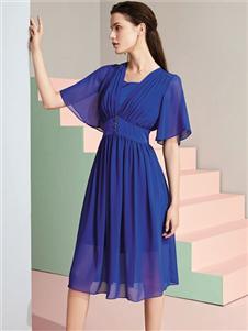 喬帛JAOBOO藍色連衣裙