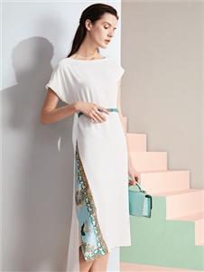 乔帛JAOBOO白色连衣裙