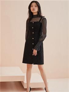爱客黑色连衣裙