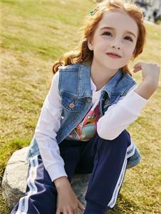 小猪班纳女大童时尚牛仔马甲两件套