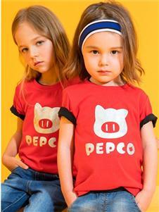 小猪班纳女小童红色时尚T恤