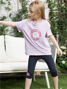 小猪班纳女小童紫色可爱T恤