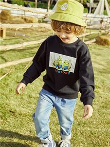 小猪班纳男小童小黄人印花卫衣