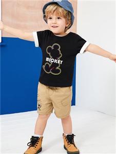 迪士尼宝宝男童黑色T恤
