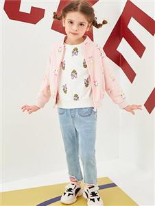 迪士尼宝宝女大童春新款印花外套