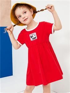 迪士尼宝宝女童红色连衣裙