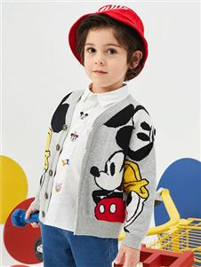 迪士尼宝宝男童可爱印花开衫