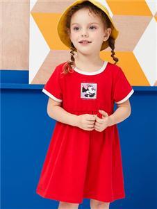迪士尼宝宝女小童红色连衣裙