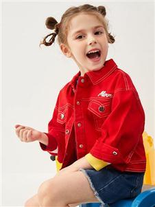 迪士尼宝宝春新款红色牛仔外套