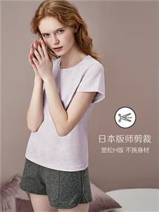 红豆棉质短袖圆领色纺宽松休闲居家打底衫