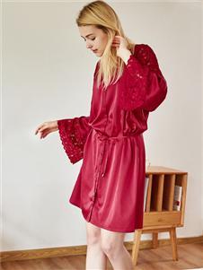红豆女士美体性感紧身蕾丝打底衫