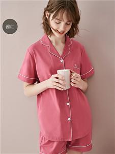 红豆情侣睡衣女士短袖纯棉家居服