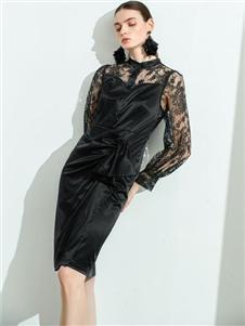 彩知丽CZHLE黑色蕾丝裙