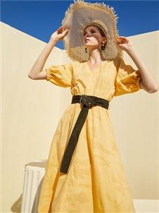 彩知丽CZHLE黄色连衣裙
