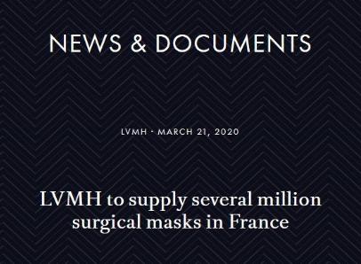 LVMH集团从中国订购4000万只口罩