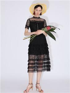 betu百图黑色蕾丝裙