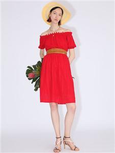betu百图红色连衣裙