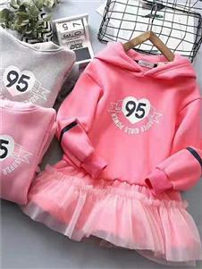 喜洋洋女童粉色加绒卫衣