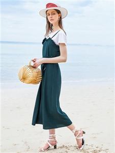 夺宝奇兵女装夏拼接连衣裙