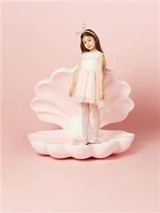 水孩儿女童夏�粉色连衣裙