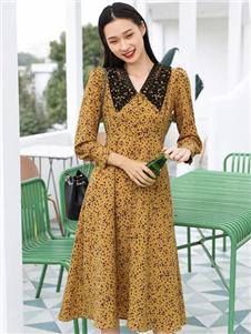 速品SUPIN黄色连衣裙