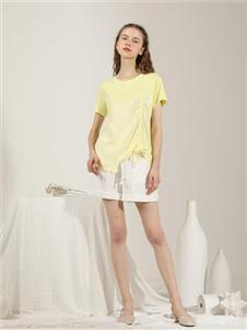 爱依莲女装黄色T恤