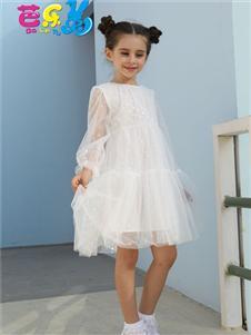 芭乐兔女童白色时尚连衣裙