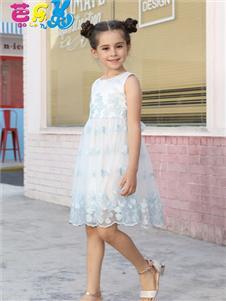 芭乐兔女童夏蓝色连衣裙