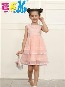 芭乐兔女童夏粉色连衣裙
