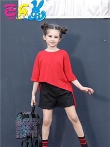 芭樂兔女童夏新款紅色T恤