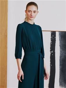 奧倫提2020新款優雅收腰連衣裙