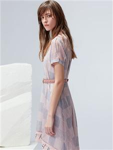 雪歌XG收腰连衣裙