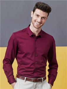 希努尔男装希努尔新款时尚酒红色衬衫