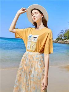 春美多黄色连衣裙
