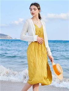 春美多新款黄色连衣裙