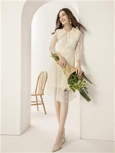 蓝缇儿女装蓝缇儿白色连衣裙