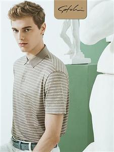 沙驰国际男装新款条纹polo衫